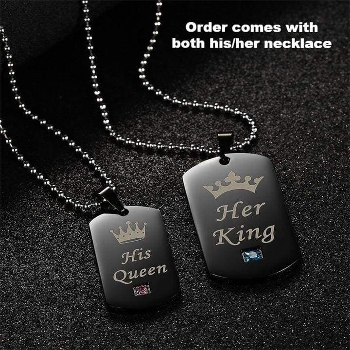 Her King & His Queen Couple Charm Necklaces