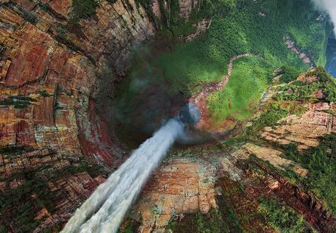 Churun-meru (Dragon) Waterfall, Venezuela, People, Woman, Travel, Adventure, Trek, Mountain, Rock